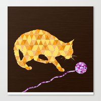 Cat & Ball 2 Canvas Print