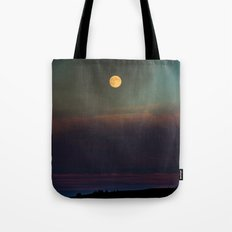 Sunset and moon rise Tote Bag