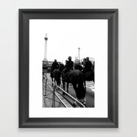 Horses, Barriers And Bus… Framed Art Print