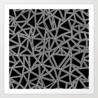 Abstract New White On Bl… Art Print