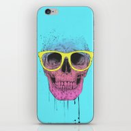 iPhone & iPod Skin featuring Pop Art Skull With Glass… by Balazs Solti