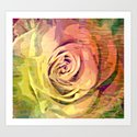 Vintage Painterly Autumn Rose Abstract Art Print