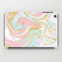 Pink Blue Gold Ink Marble iPad Case