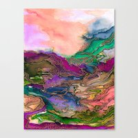 BRING ON BOHEMIA 1 Bold Rainbow Colorful Watercolor Abstract Metallic Accent Summer Peach Pink Green Canvas Print