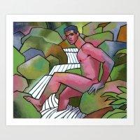 Red Nude On Mossy Rocks Art Print