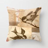 Bird Collage  Throw Pillow