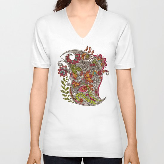Random Flowers V-neck T-shirt