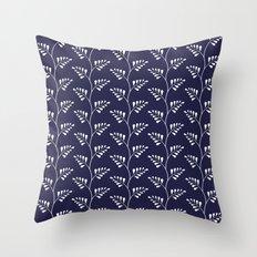 Blue & White Ferns Throw Pillow