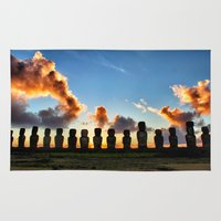 Sunrise behind the Moai Rug