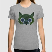So Many Leaves = 1 Owl (Green) Womens Fitted Tee Athletic Grey SMALL