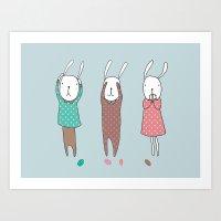 Three Wise Bunnes Art Print