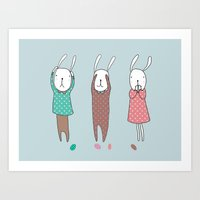 Three Wise Bunnes Art Print