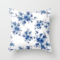 FOLK FLOWERS Throw Pillow