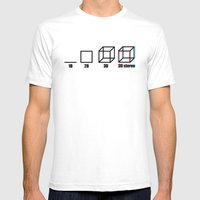 3D Stereo Mens Fitted Tee White SMALL