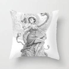 Astro Babe B&W Throw Pillow
