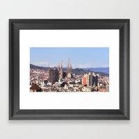 Barcelona: City View Wit… Framed Art Print