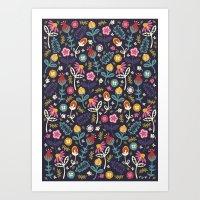 Ditsy Flowers Art Print