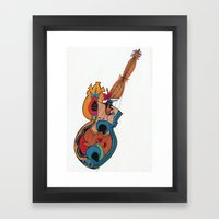 woman guitar Framed Art Print