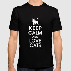 Keep Calm and Love Cats Black Mens Fitted Tee SMALL