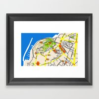 Tel Aviv Jaffa map design - written in Hebrew 2  Framed Art Print