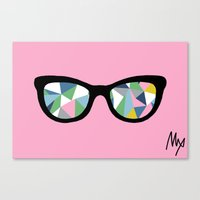 Abstract Eyes On Pink Canvas Print