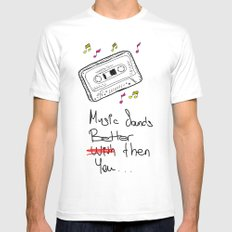 Cassette Mens Fitted Tee SMALL White