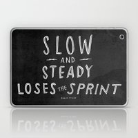 slow and steady loses the sprint blk&wht Laptop & iPad Skin