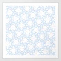 Kawaii Winter Snowflakes Art Print