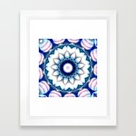Denim Flower Kaleidoscop… Framed Art Print