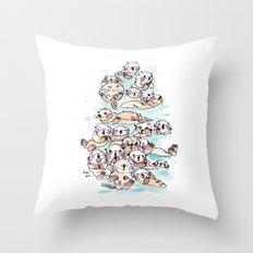 Wild family series - Otters Throw Pillow