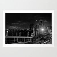Moonlit Night At Chicago… Art Print