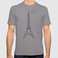 Bonjour Paris! Mens Fitted Tee Athletic Grey SMALL