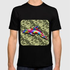 DOLPHIN COLORS 3D Mens Fitted Tee Black SMALL