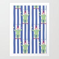 Clown (blue) Art Print