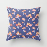 Anemone Flowers :: Laven… Throw Pillow