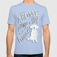 Home With Dog Mens Fitted Tee Tri-Blue SMALL