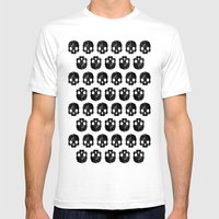 Black skull low poly Mens Fitted Tee White SMALL