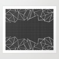 Grids And Stripes Black Art Print