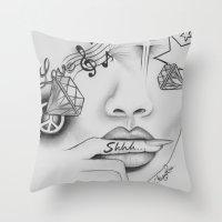 Rihanna - Shine bright like a diamond 'Shhh..' lips - Ashley Rose Throw Pillow