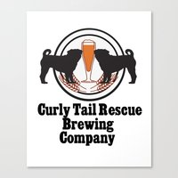 Curly Tail Rescue Beer P… Canvas Print