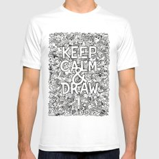 Keep Calm and Draw SMALL Mens Fitted Tee White