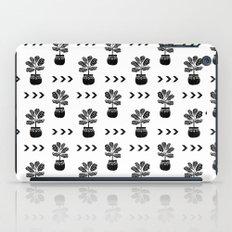 Fiddle Leaf Fig tree linocut black and white minimal modern lino carving monochromatic trendy art iPad Case