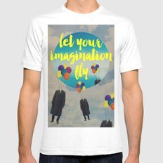 Vintage Quotes Collection -- Let Your Imagination Fly SMALL White Mens Fitted Tee