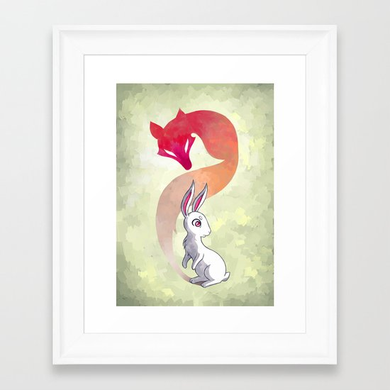 Rabbit and a Fox Framed Art Print