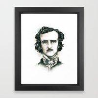 Edgar Allan Poe and Ravens Framed Art Print