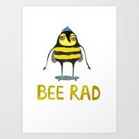 Bee. bee art, bee illustration, nature, illustration, wall, kids, skater, skateboarding, rad,  Art Print