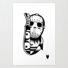 Halloween Jason Tattoo Flash Art Print