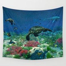 Sea turtles swim through the Mediterranean Sea Wall Tapestry