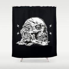 Skullflower Black and White  Shower Curtain
