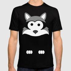 Minimal Raccoon SMALL Mens Fitted Tee Black